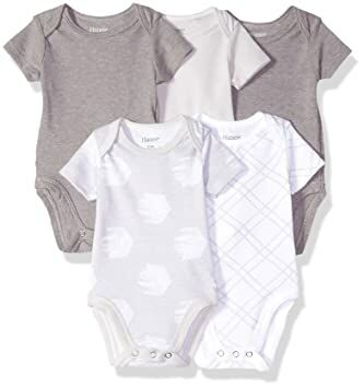 ee00a2a0c Hanes Ultimate Baby Flexy 5 Pack Short Sleeve Bodysuits, Grey Fun, 0-6  Months