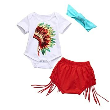 889b55a0c0d Younger Tree Newborn Infant Fashion Outfits Set Baby Girls Boys Indian  Print Romper Shorts Headband Clothes Set 3Pcs (White