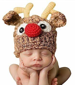 3231a316ff1 Bienvenu Christmas Santa s Reindeer Crochet Toddler Baby Hat Beanie Photo  Prop