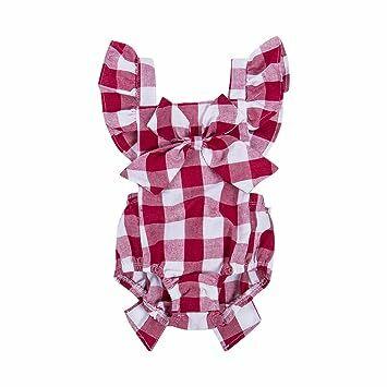 c9d3739e81b Newborn Infant Baby Girls Clothes Plaids Checks Romper Jumpsuit Bodysuit  Outfits (3-6 Months