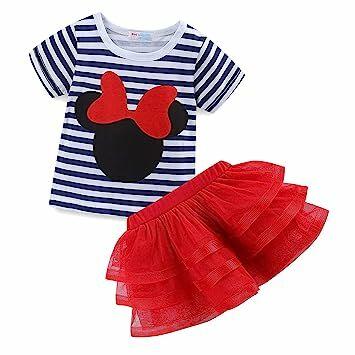 a6cba7508 Mud Kingdom Little Girls' Cartoon Cute Set T-Shirt and Tutu Skirt Outfit 3T  Red