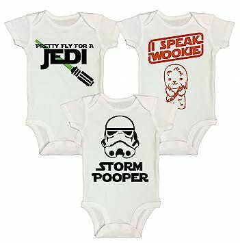 6356766de RB Clothing Co Kids Cute 3 Pc Star Wars Inspired Bodysuit or T-Shirt Set  (Newborn, White Short Sleeve Bodysuit)