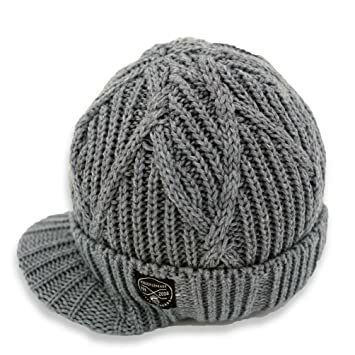 2767fd66ca7 Born to Love Knuckleheads - Gray Boy s Baby Visor Beanie Hat with Stripes  Detail (XS