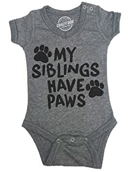 798e0b785 Creeper My Siblings Have Paws Cute Dog and Cat Baby Jumpsuit for 6 Months  -6 Months Heather Grey
