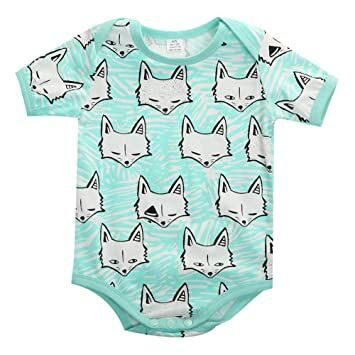 a93f2e2c5 Newborn Baby Boys Girls Fox Short Sleeve Romper Bodysuit Playsuit Outfits  (6-9 Months)