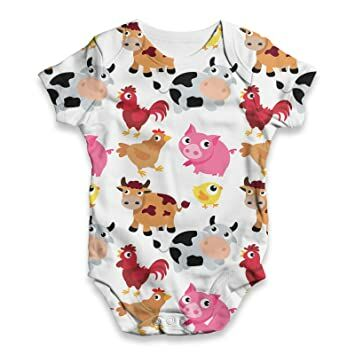 d1f664431d44 TWISTED ENVY Farm Yard Animal Baby Unisex Funny All-Over Print Bodysuit Baby  Grow Baby Romper