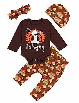 d85eaaf14 Baby Thanksgiving Outfit Newborn Girls Boys My 1st Thanksgiving Bodysuit  Turkey Pants 4Pcs Clothes Sets 9-12 Mo