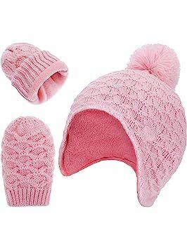 Boao Infant Baby Earflap Hat Fleece Lined Hat and Full-fingered Mitten  Gloves for Toddler Boy Girl (Color 1) da5b0332761d
