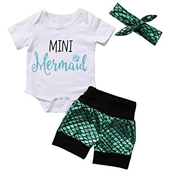 9417700ac59 Baby Girls Short Sleeve Bodysuit + Mermaid Shorts + Headband 3PCs Clothes  Set (Green