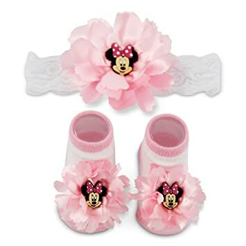 Disney Baby Minnie Mouse Polka Dot Flower Headwrap and Booties Gift Set d76aee9f4