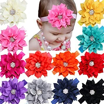 fd0619f4a17 12Pcs Baby Headbands Flower Hairbands Hair Bows with Rhinestones for Baby  Girls Toddlers Infant Newborns