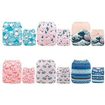 Babygoal Baby Adjustable Reuseable Pocket Cloth Diaper Nappy,12pcs Diapers+12pcs 3-Layer Microfier Inserts+4pcs Baby Wipes+One Wet Bag 12FB53-1