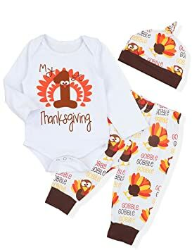 d66b77a8e 3PCS Newborn Baby Boys Girl Clothes My First Thanksgiving Romper,Cute  Turkey Pattern Pants + Hat Onesies Outfit Set(9-12 Months)