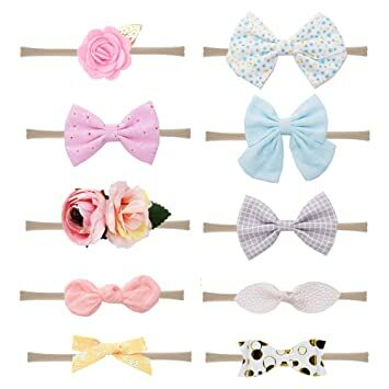 Prohouse 10PCS Baby Nylon Headbands Hairbands Hair Bow Elastics for Baby  Girls Newborn Infant Toddlers Kids (10 different styles) c5337961f3f