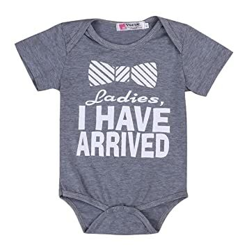 655bc309a Pie Ladies, I Have Arrived Baby Infant Funny Bodysuits Newborn Rompers  (3-6M, Grey)