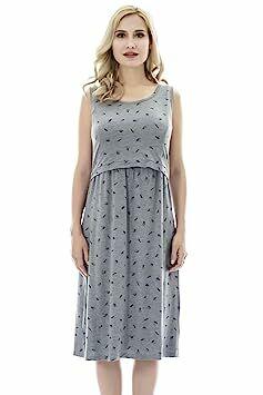 3d0427669e2 Bearsland Womens Sleeveless Maternity Dress Empire Waist Nursing  Breastfeeding Dress Summer, grayumbrella, M