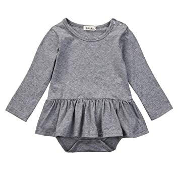 2b68a394b enhill Infant Baby Girls Long Sleeve Bodysuit Ruffles Romper Dress Outfit  Clothes (0-6 Months, Gray)