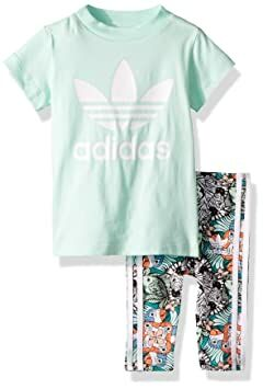 709509235 adidas Originals Baby Infant Zooanimal Print Tee Set, Clear Mint/White, 3M