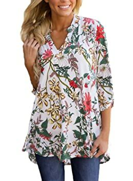 3a249e9bb4d Dokotoo Womens Casual Fashion 2017 High Low Split Neck Floral Print 3 4  Sleeve Tunic Blouses Tops White XX-Large