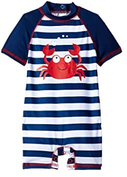 dde2dc68d73e5 Wippette Baby Boys Stripes Crab One Piece Rash Guard Swimsuit with Snaps,  Navy, 0-6 Months