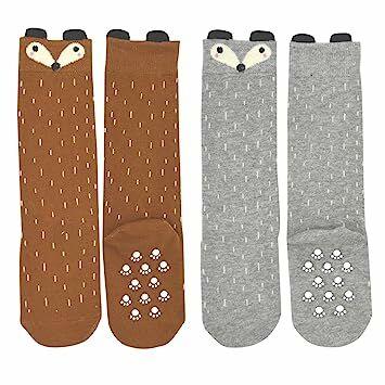 7dc3b1c74 Shorven Baby Kids Cotton Socks Knee High Long Socks 2 Packs Grey   Orange  Fox S