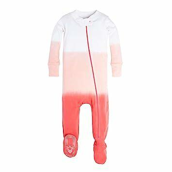 ddf75f0e5 Burt's Bees Baby Baby Girls' Organic Print Zip Front Non-Slip Footed  Sleeper Pajamas, Sunset Dip Dye, 0-3 Months