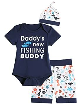7eb90cc3262 3PCS Baby Boys  Daddy s New Fishing Buddy Outfit Set Short Sleeve Bodysuit  (0-3 Months)