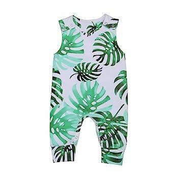 a80f69063 Kmbangi Newborn Toddler Kids Infant Baby Girl Boy Sleeveless Banana Leaves Romper  Jumpsuit Bodysuit Outfits Summer (70(0-3M)) Green