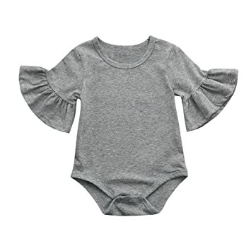 eae5546f1031 FEITONG Newborn Infant Baby Girls Ruffles Sleeve Romper Outfits Playsuit  Clothes (Gray