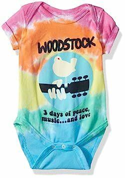 627917440 Liquid Blue Baby Woodstock Banded Short Sleeve Onesie, tie/dye 0-6 Months