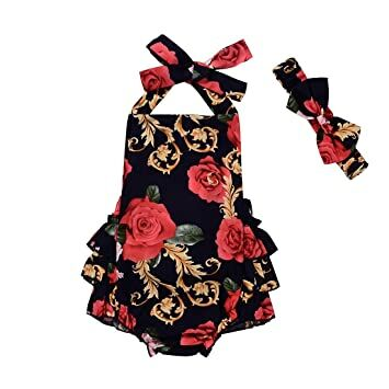 5cf038ae0ed Newborn Baby Girls Clothes Floral Ruffle Halter Romper Jumpsuit Summmer Dress  Sunsuit with Headband (0-6 Months