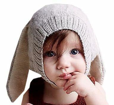 6d312553ee1e75 VOEN Bunny Rabbit Ear Hat Winter Crochet Earmuff Earcap Knit Hat for Baby  (Light grey)