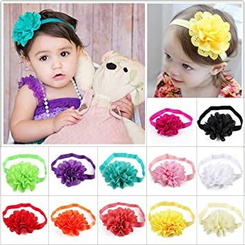 c6fa53ce707 DOTASI 12pcs Cute Girl Elastic Flower Headband Hair Bow Band for Baby Hair  Accessories (Multi-color  4)