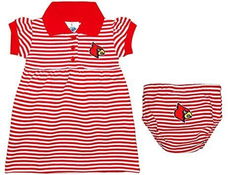 9f217c18a199 University of Louisville Cardinals Striped Game Day Dress with  Bloomer,Red,0-3 Months