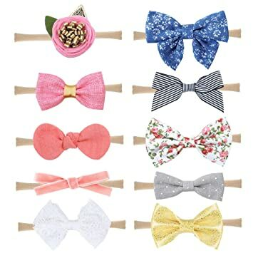 Prohouse 10PCS Baby Nylon Headbands Hairbands Hair Bow Elastics for Baby  Girls Newborn Infant Toddlers Kids Headbands-10PCS) 8520b01d549