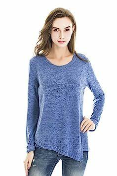 097c64363ef Bearsland Womens Maternity Autumn Long Sleeves Breastfeeding Shirts and  Nursing Tops Sky Blue Medium