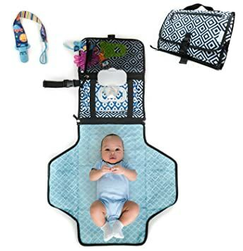 8495c0f5c4a5 HobbyBooby Portable Changing Pad - Travel Diaper Change Pad - Cushioned and  Waterproof Pad - Travel Station Mat Kit for Baby Diapering- Infants Baby ...