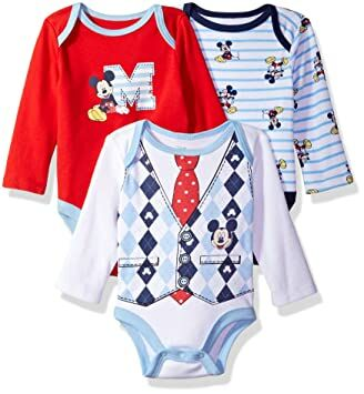 9d67b7bd4 Disney Baby Boys' Mickey Mouse 3 Pack Long Sleeve Bodysuit, red/Navy, 0-3  Months