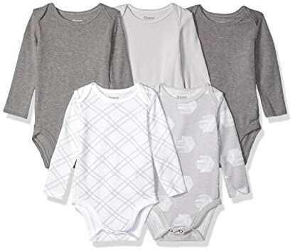 47b0d707853 Hanes Ultimate Baby Flexy 5 Pack Long Sleeve Bodysuits