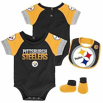 1ff56f63bf9 Outerstuff NFL NFL Pittsburgh Steelers Newborn & Infant 50 Yard Dash  Bodysuit, Bib & Bootie Set Black, 6-9 Months