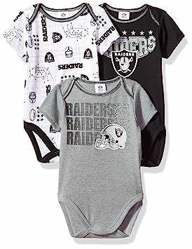 ea3ff6342 Gerber Childrenswear NFL Oakland Raiders Boys Short Sleeve Bodysuit (3  Pack), 0-3 Months, Black