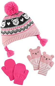 38570200949 Simple Joys by Carter s Girls  Hat and Mitten Set