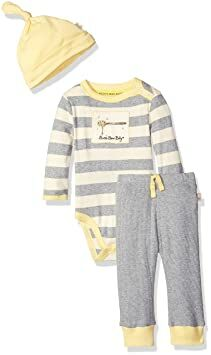 e12630a90 Burt's Bees Baby Unisex Organic Long Sleeve Lap Shoulder Dress and Footed  Pant, Heather Grey Honey, 6-9 Months