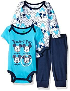 3a4f28383 Disney Baby Boys' 3-Piece 2 Mickey Mouse Bodysuits with Pant Set, Blue, 6/9  Months