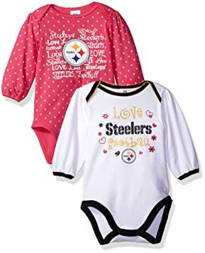 190520ab NFL Pittsburgh Steelers Baby-Girls 2-Pack Long-Sleeve Bodysuits, Pink, 0-3  Months