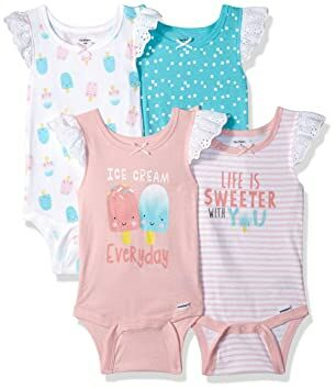 93617f80a Gerber Baby Girls 4-Pack Sleeveless Onesies Bodysuit, Icecream, Newborn