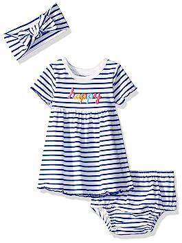 bc8c8cb5f Gerber Baby Girls 3-Piece Dress, Diaper Cover and Headband Set, Thin Stripe  Newborn