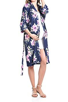 1f9d004b246c7 Beachcoco Women's Maternity Robe delivery/Nursing Made in USA  (Large/X-Large, Navy Flower)
