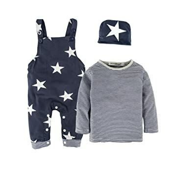 2abfe86e3b2 BIG ELEPHANT 3 Pieces Baby Boys  Long Sleeve Shirt Overalls Set with Hat  H92A Dark Blue