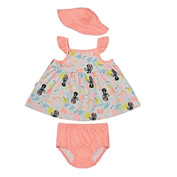 6696a3163efe Disney Minnie Mouse Infant Baby Girls  Sunhat Dress and Diaper Cover Set  (3-6 Months)